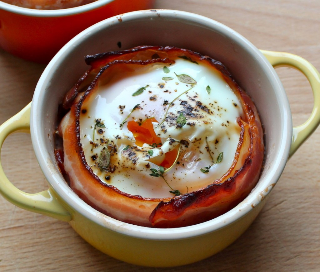 Le Creuset egg og bacon