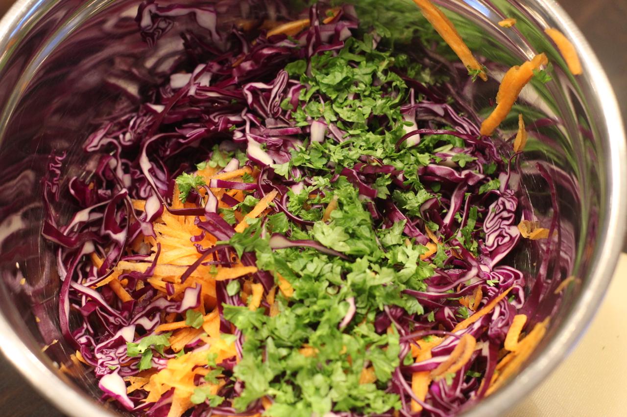 Rødkålsslaw - rødkål, gulrøtter, persille og dressing